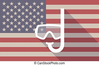 Illustration of a long shadow vector USA flag icon with a diving goggles