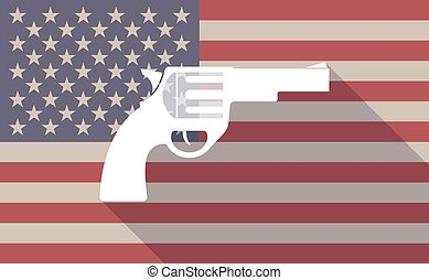 Long shadow vector USA flag icon with a gun