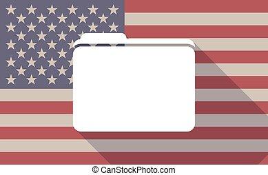 Long shadow vector USA flag icon with a folder