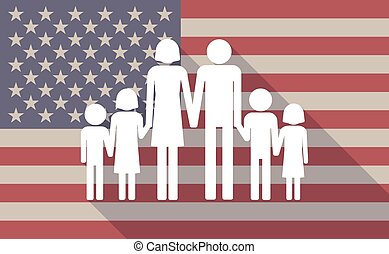 Long shadow vector USA flag icon with a large family  pictogram