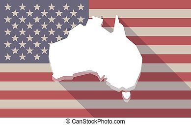 long shadow vector usa flag icon with a map of australia