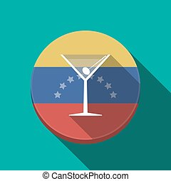 Long shadow Venezuela button with a cocktail glass