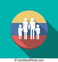 Long shadow Venezuela button with a conventional family pictogram