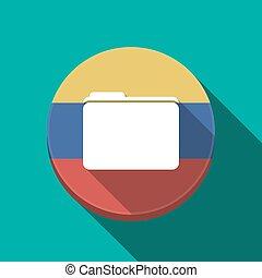 Long shadow Venezuela button with a folder