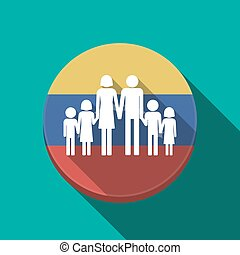 Long shadow Venezuela button with a large family pictogram