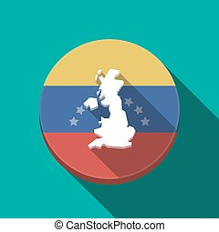 Long shadow Venezuela button with a map of the UK