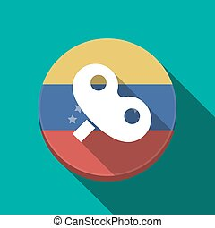 Long shadow Venezuela button with a toy crank - Illustration...