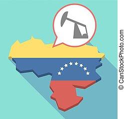 Long shadow Venezuela map with a horsehead pump -...