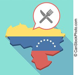 Long shadow Venezuela map with a knife and a fork