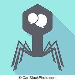 Long shadow virus with  comic balloons
