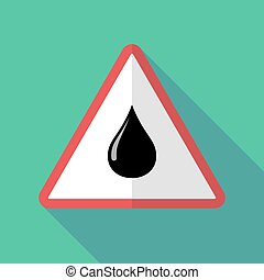 Long shadow warning sign with  an oil drop icon