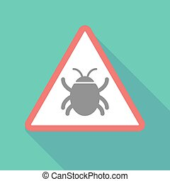 Long shadow warning signal with a bug
