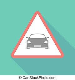 Long shadow warning signal with a car