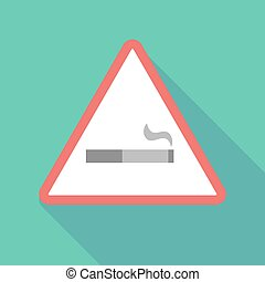 Long shadow warning signal with a cigarette