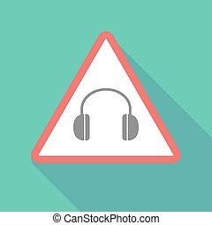 Long shadow warning signal with a earphones