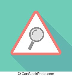 Long shadow warning signal with a magnifier