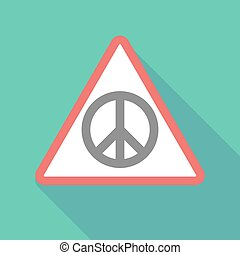 Long shadow warning signal with a peace sign