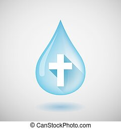 Long shadow water drop icon with a christian cross