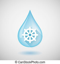 Long shadow water drop icon with a dharma chakra sign