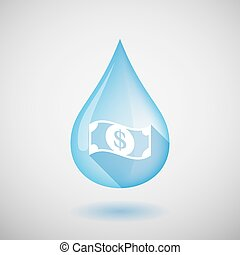 Long shadow water drop icon with a dollar bank note