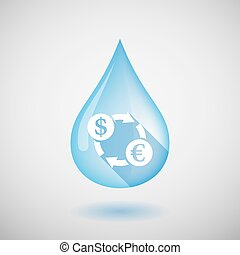 Long shadow water drop icon with a dollar euro exchange sign