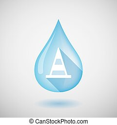 Long shadow water drop icon with a road cone