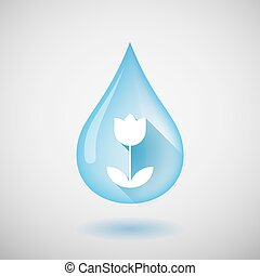Long shadow water drop icon with a tulip