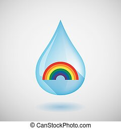 Long shadow water drop icon with a rainbow