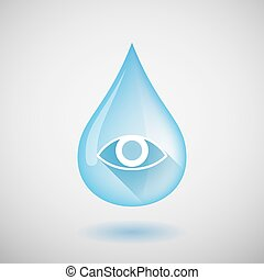 Long shadow water drop icon with an eye
