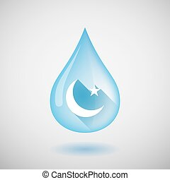 Long shadow water drop icon with an islam sign