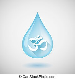 Long shadow water drop icon with an om sign