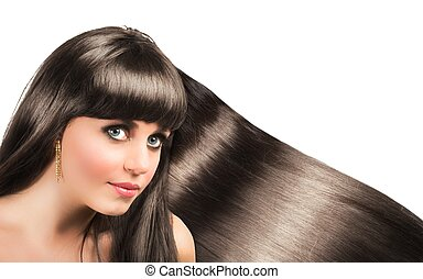 Long shiny hair of a beautiful brunette