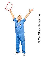 Long shot of a jubilant doctor celebrating her success