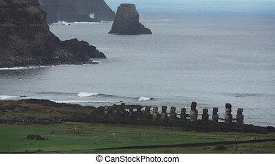 Long shot of Ahu Tongariki iconic platform in Easter Island...