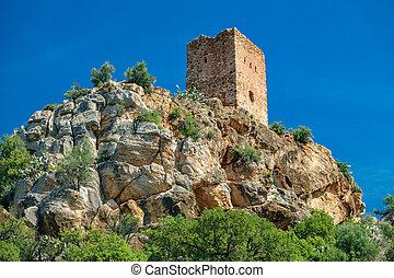 Almenara village tower on top of the hill - Long shot of...