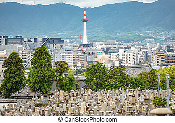 Kyoto city with tower and cemetery