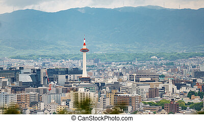 Kyoto city with tower