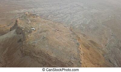 Long shot of masada fortress,aerial