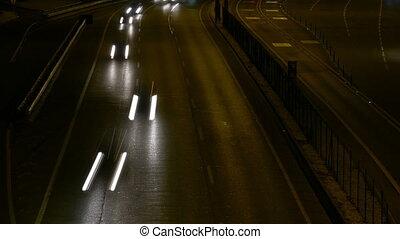 Long Shutter Traffic Car Light Streaks at Night