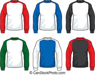 A variety of different colored long sleeve shirts. vector clipart ...