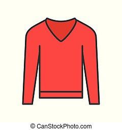 long sleeve sweater, filled color outline editable stroke