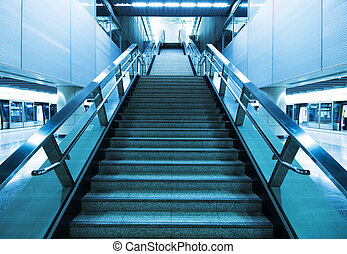 long stair in a train station in hong kong