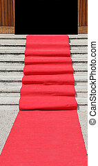 staircase with a luxurious red carpet toward the open door