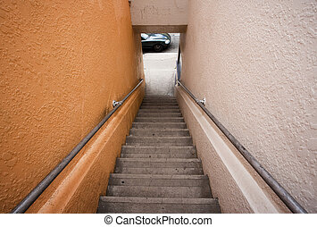 Long stairway to the street - Long stairway to street where...