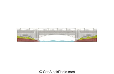 Long stone bridge. Walkway across the river. Construction for transportation. Flat vector element for mobile game