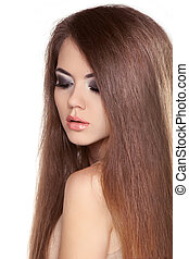 Long Straight Hair. Beautiful Brunette Girl with Healthy and Shiny Smooth Brown Hair isolated on white background.