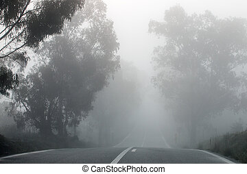 Long straight road in the fog