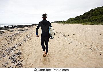 long, surfeur, plage, promenades