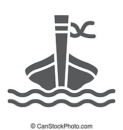 Long tail boat glyph icon, sheep and sea, tai boat sign, vector graphics, a solid pattern on a white background.