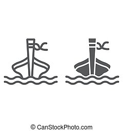 Long tail boat line and glyph icon, sheep and sea, tai boat sign, vector graphics, a linear pattern on a white background.